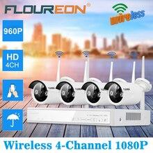 FLOUREON 4CH беспроводной CCTV 1080 P DVR комплект Открытый Wi Fi WLAN 1.3MP 960 IP камера безопасности Видео регистраторы NVR системы ЕС
