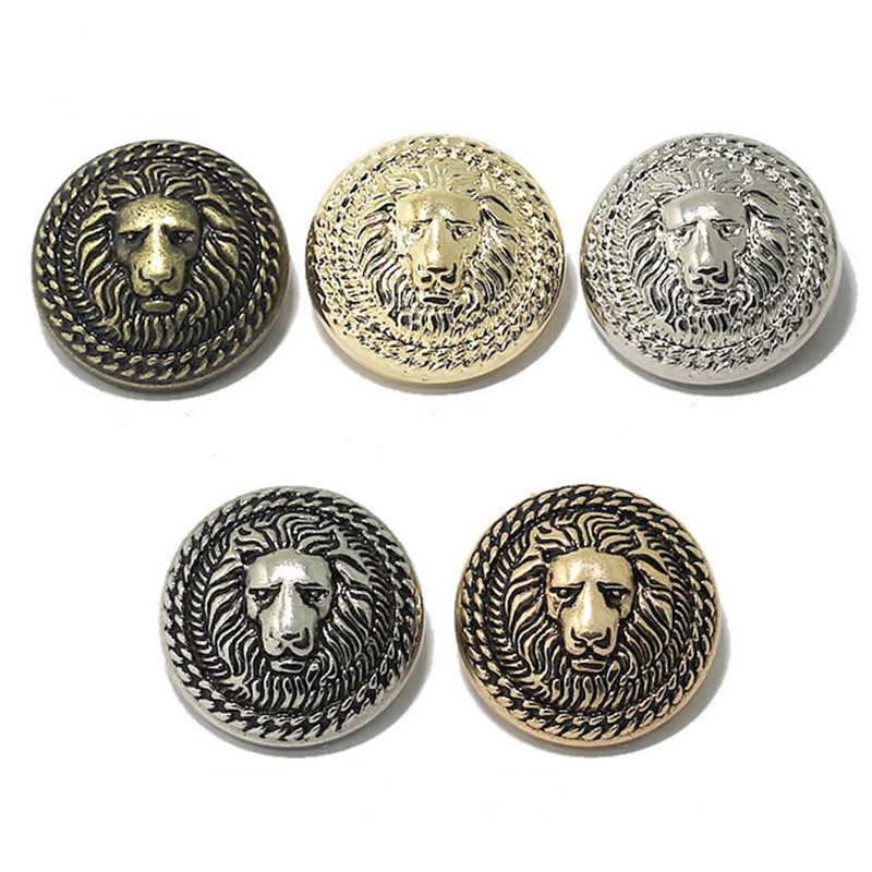 50pcs Relief Double Lion Metal Buttons Sewing Jean Metal Buttons For Ladies Sweater Fashion Coat Buttons For Jeans Apparel Sewing & Fabric