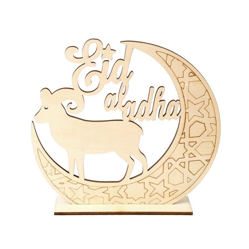 Us 3 4 30 Off Wooden Eid Mubarak Diy Moon And The Sheep Home Decoration Hanging Pendants Ic Muslim Party Decor Supplies In
