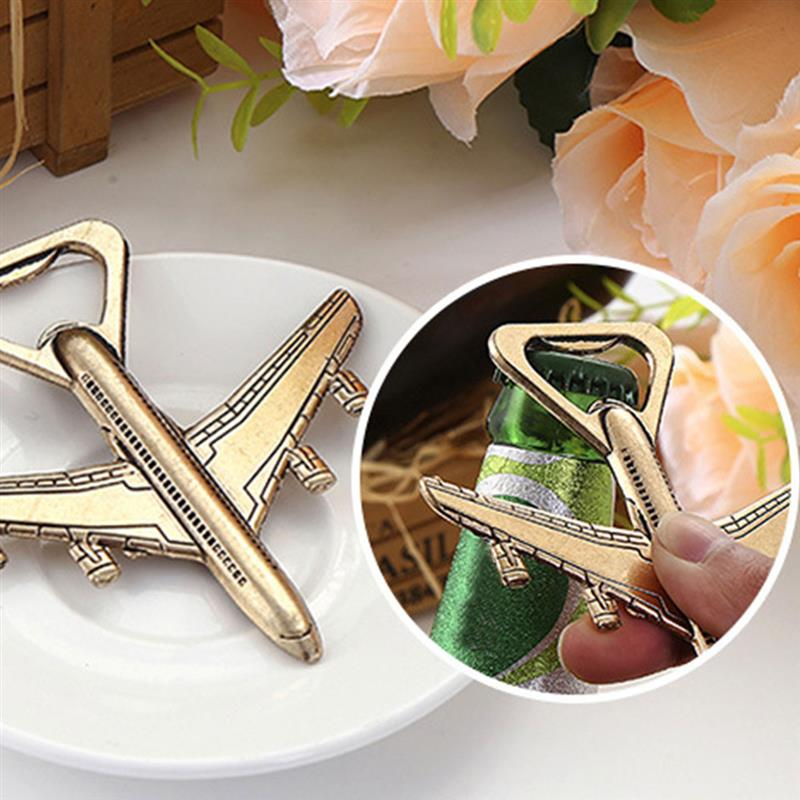 1pc Airplane Bottle Opener Antique Plane Shape Beer Opener Wedding Gift Party Favors Kitchen Alloy Airplane Openers image