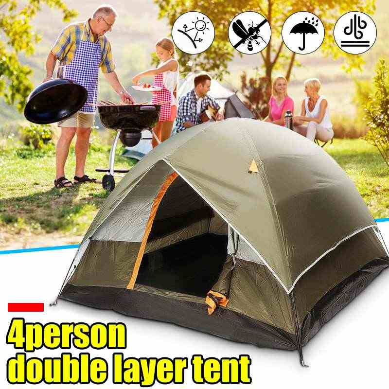 3-4 People Double layer Tents Waterproof Sunscreen Anti UV Tourist Tents Outdoor Family Camping Hiking Instant Tent
