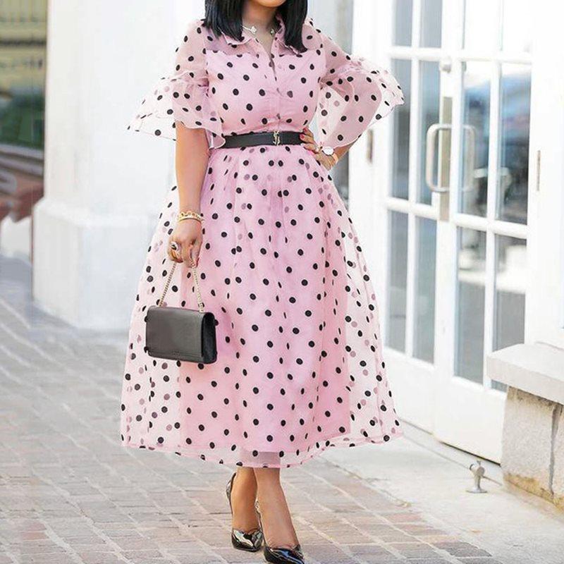 Frauen Kleidung & Zubehör Einfach Sexy Kleid Casual Frauen Sommer Kleider Boho Vintage Midi Taste Backless Polka Dot Gestreiften Blumen Strand Kleid Weibliche Kleidung # F
