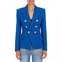 PEONFLY New Fashion 2019 Designer Blazer Jacket Women's Double Breasted Metal Lion Buttons Blazer Outer size S XXL