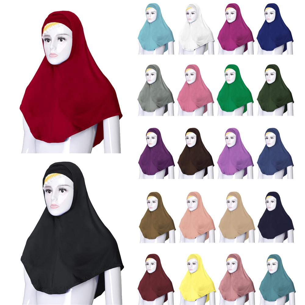 2PCS Women Muslim Prayer Hat Under Scarf Hijab Niquabs Islamic Headscarf Turban Soft Ninja Solid Color Middle East Hat 76*68CM