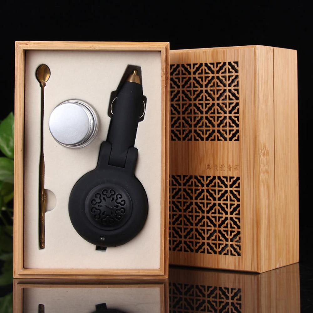 Black ABS Plastic Car Incense Burner Purifier Incenses Chip Censer Holder Gift Set Odor Removal Electronic