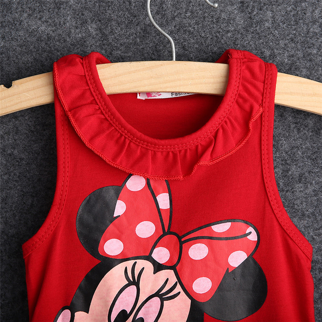 pudcoco dress Baby Girl 2018 summer 100% cotton tops sleeveless dress cartoon fashion dress baby girl cartoon tops dress
