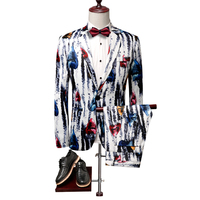 2PC Casual Men Suit Brand Night Club/Party/Prom/Groom/Wedding New Korean Slim Fit Mens Floral Dress Suits Tuxedo Formal Wear