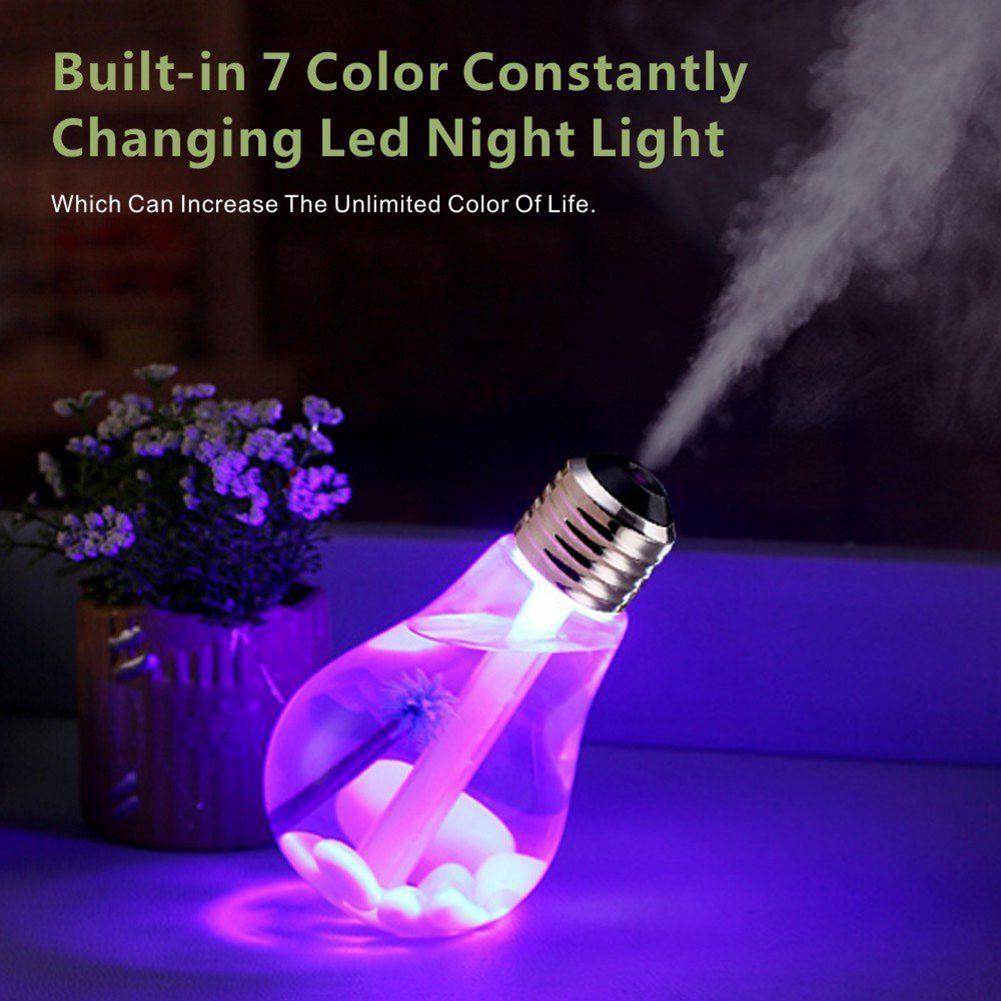 Lâmpada LED Umidificador de Ar Ultra umidificador USB alimentado lâmpada descoloração ultra silencioso 7-cor luz da noite Prata