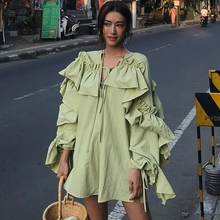 New Summer Dress Women V Neck Lantern Sleeve Ruffles Shirts Loose Vintage Asymmetrical V-Neck