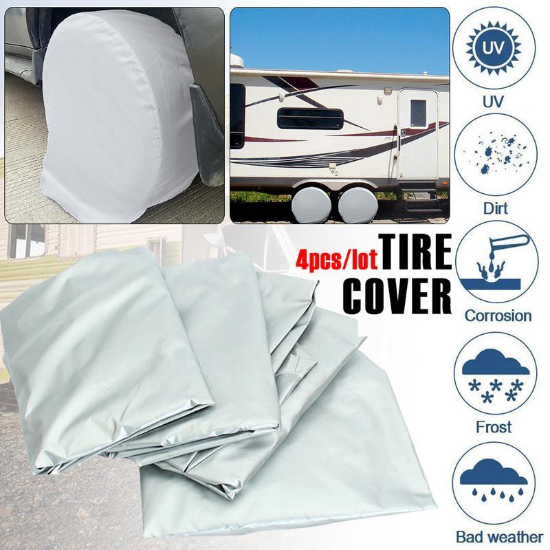 4pcs Of Set Auto Car Tire Wheel Covers Aluminum Film Tire Sun Protectors Fits 27