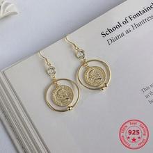 925 Sterling Silver Simple European American Retro Vintage Palace Style Dangle Earrings Women Jewelry