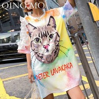 QING MO Cartoon Cat Dress Women Flower Short Sleeve Dress Beaded Colorful Graffiti Dress Gilrs Summer Sweety Tops ZLDM092