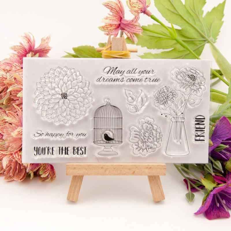 Sellos transparentes de silicona claro estampillas de flor para DIY Scrapbooking Photo Letters Scrapbook paquetes de papel