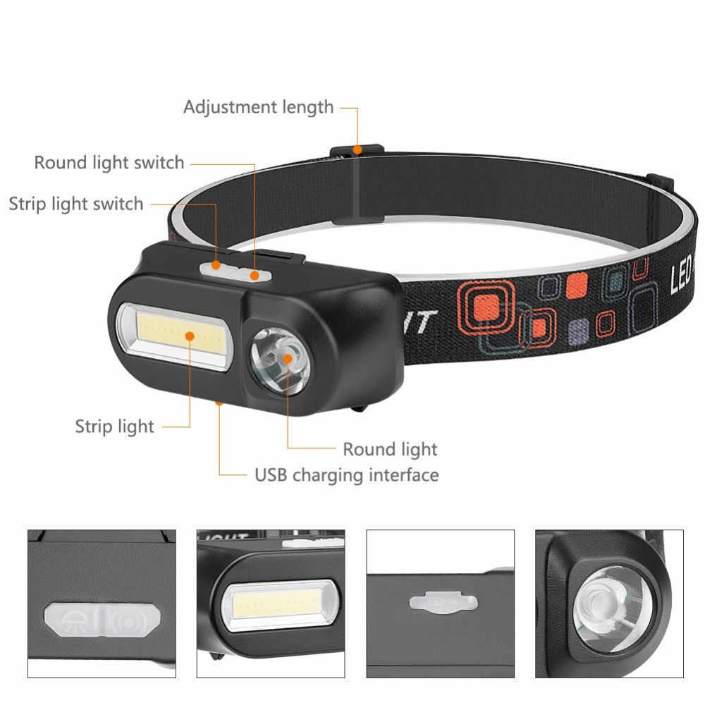 Новинка 2019 года USB перезаряжаемые XPE + галобный фонарь COB Глава свет лампы 6 Режим фонарик налобный фонарь светодиодный 18650 фонарь на батарее на лоб