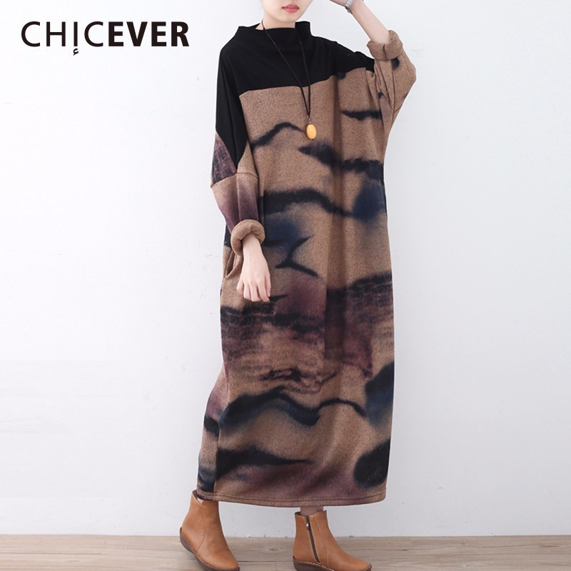CHICEVER Winter Vintage Knitting Women Dress Female Long Sleeve Loose Big Size Thick Dresses Clothes Fashion Casual