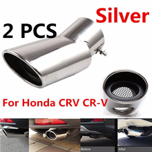 2Pcs Exhaust Muffler Tail Pipe Tip Stainless Steel Silver for Honda CRV CR-V 2017 Car accessories stylish stainless steel car exhaust pipe muffler tip for honda crv silver page 4