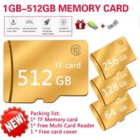 2PCS 512GB Micro SD Card Memory Card Golden Trans flash Neutral High Speed read 80mb Reader Card Cover TF Card