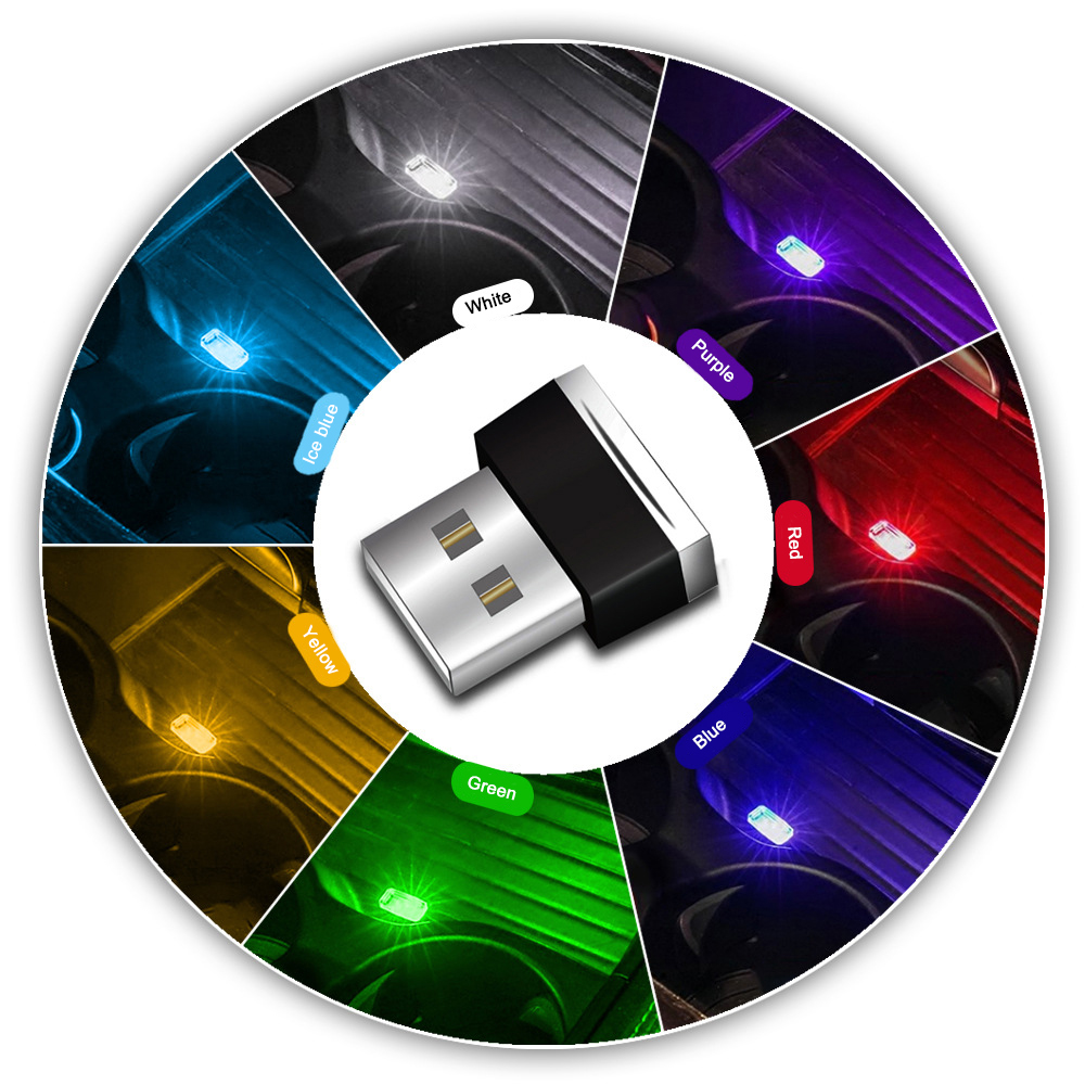 Mini USB Light LED Modeling Car Ambient Light Neon Interior Light Car Jewelry (7 Kinds Of Light Colors)(China)