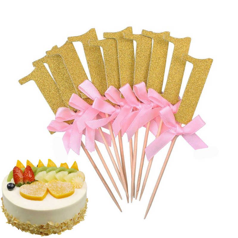 Sale 10pcs Lot Baby Birthday Cake Toppers 1 Year Old Insert Card Party