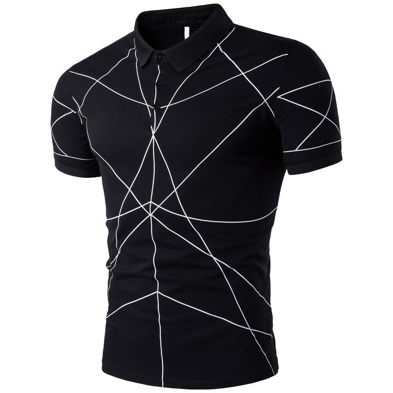 Men   Polo   Shirt Stand collar Short sleeve Slim   Polo   Shirt Men's Clothing Tops Tees Black White Gray