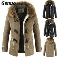 Winter Fleece Military Jackets Men Faux Fur Hooded Windproof Outwear Parka Men Horns Buckle Thick Windbreaker Coat Overcoat