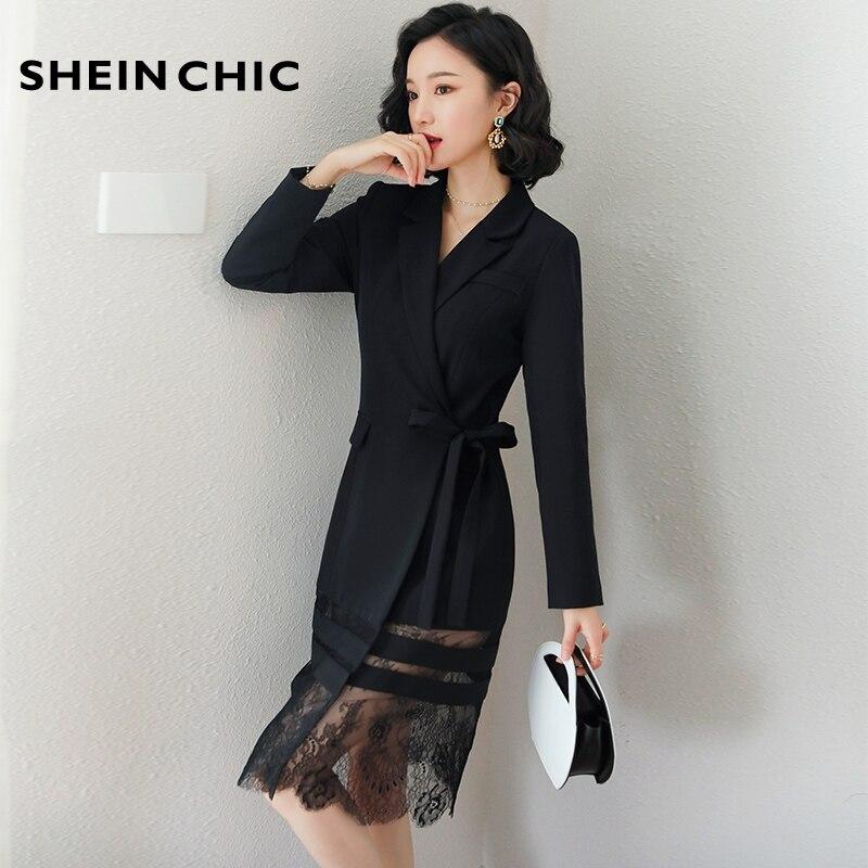 Élégant noir dames Blazer bureau robe femmes 2019 coréen Sexy col rabattu à manches longues dentelle Patchwork mince robe mi-longue