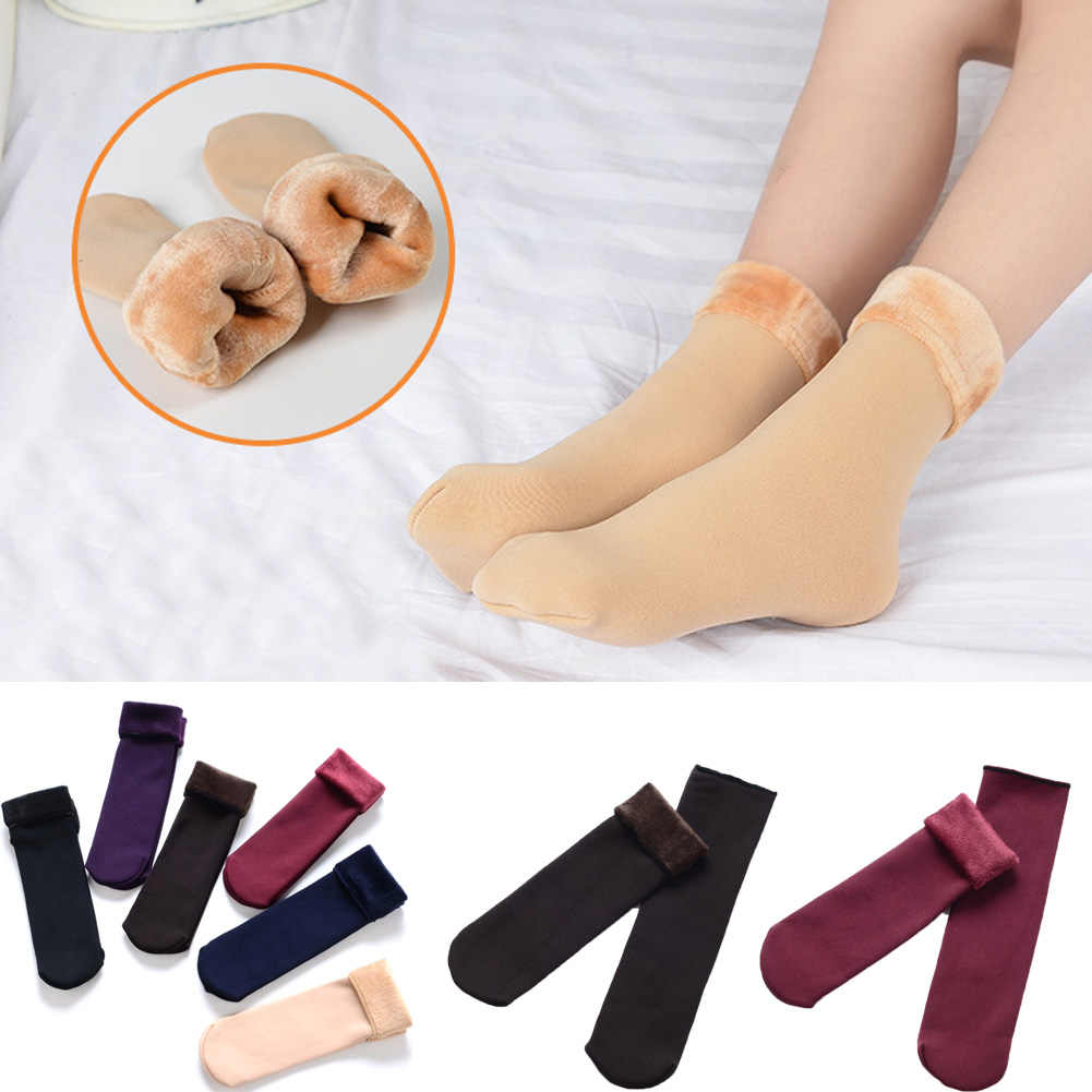 Women's Autumn And Winter Socks Velvet Thickening Socks Solid Casual Snow Thermal Keeping Sleeping Socks