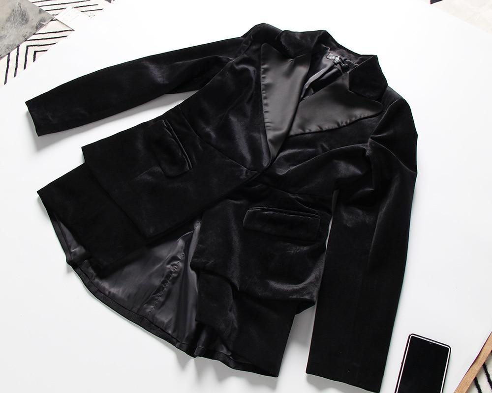 Printemps De Veste 2019 Taille down Nouveau Velours Wd67201l Femmes Pas Costume Mince Col Turn Ol Haute Black Unique Deat Boutons Femme wEpxq7p