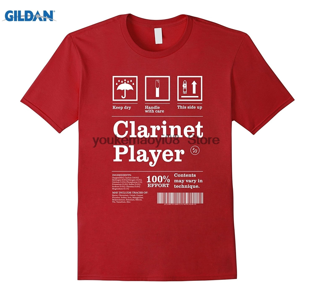 GILDAN 100% cotton O-neck printed T-shirt  Clarinet Player T shirts