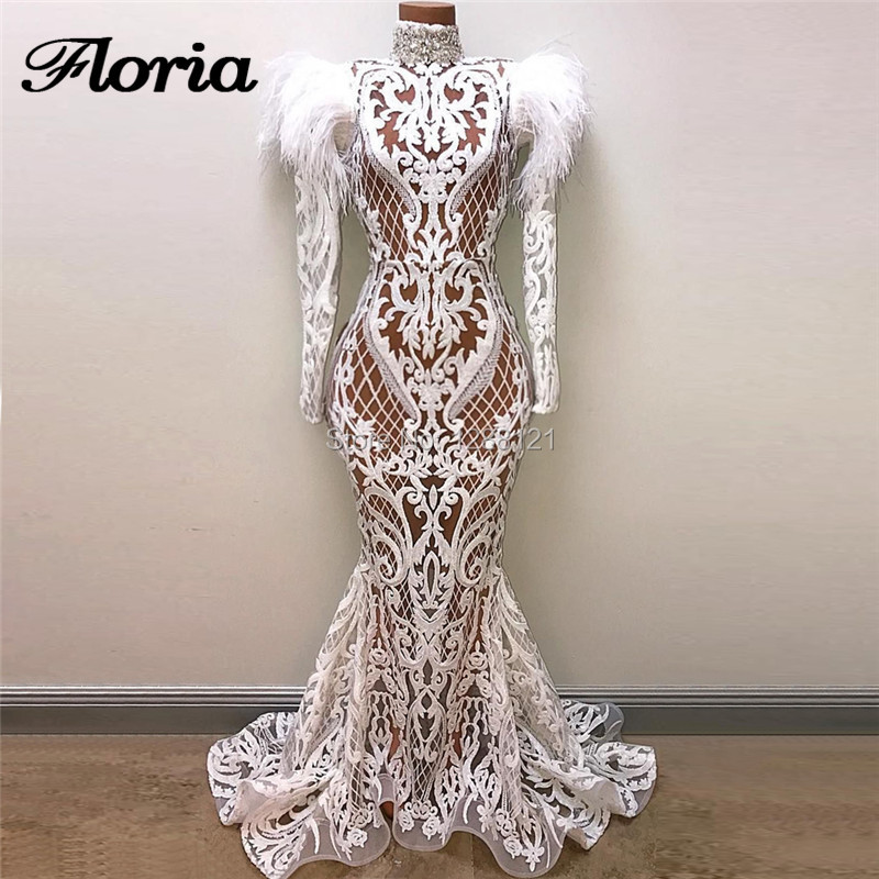 White Sexy Transparent   Evening     Dresses   Kaftan Islamic Arabic Prom   Dress   Turkish Middle East Wedding Party Gowns Robe de soiree