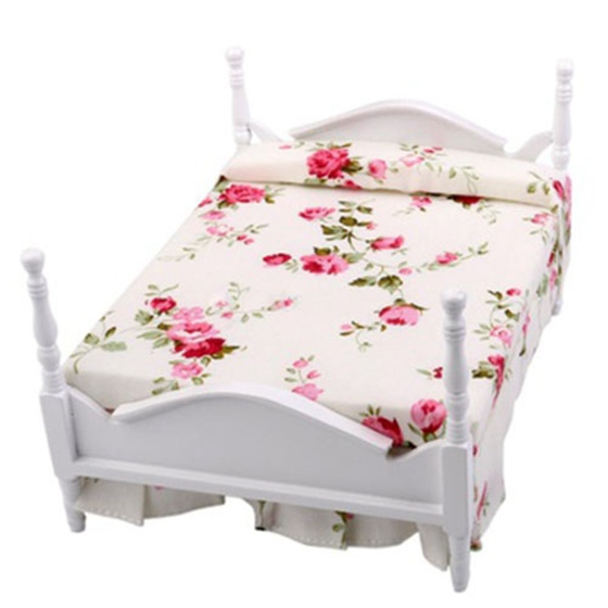 1/12 Scale Dollhouse Furniture Miniature Floral Bed