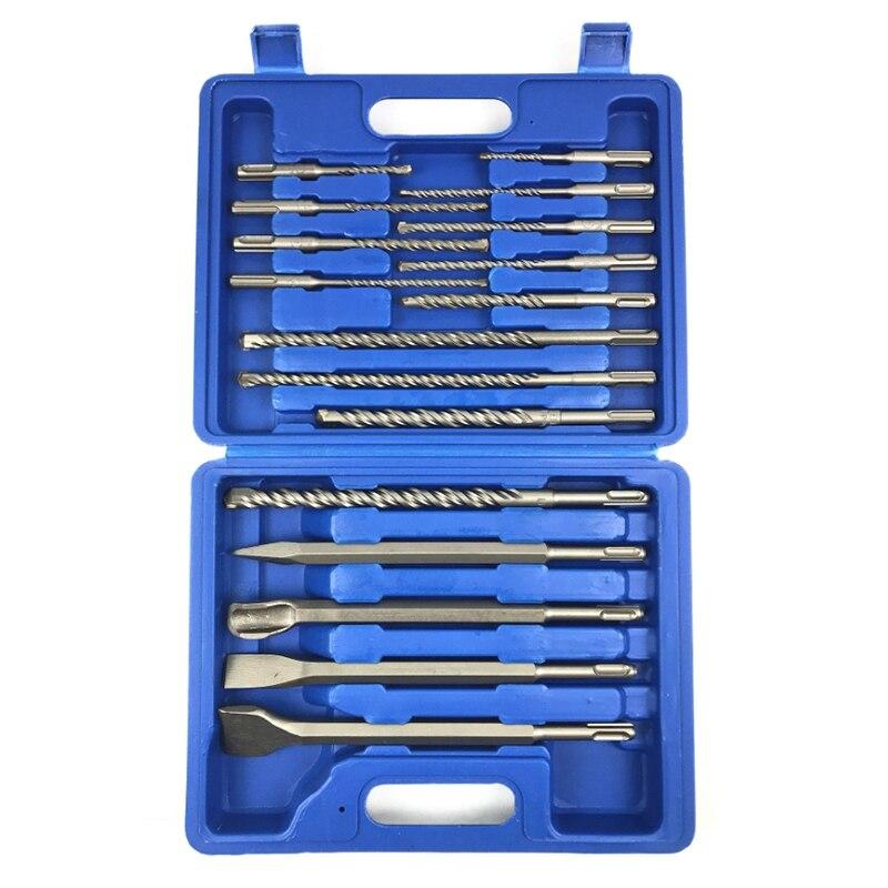 17 pièces/ensemble forets burin Sds Plus ensemble de marteaux rotatifs pour outils d'installation hydroélectrique Hilti avec boîte de rangement Ch