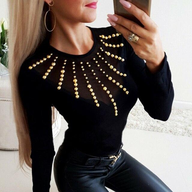 1aea16f27f5 Sexy Sequined Black Tops Women Spring Beaded T-Shirts Autumn Long Sleeve TShirts  Ladies Slim