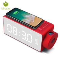 Wireless Phone Charging Digital LED Alarm Clock Bluetooth Speaker led Large Screen clock Projection Snooze FM Table Clocks