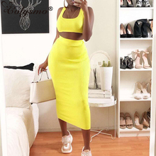 Colysmo Summer Long Dress Women 2019 Sleeveless Square Neck Ribbed Bodycon Dress Party Casual Yellow Dress Two Piece Vestidos все цены