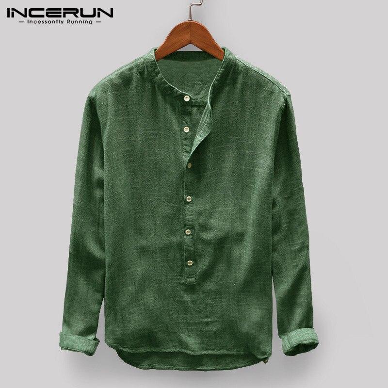INCERUN 2019 Solid Color Vintage Men Casual Shirt Stand Collar Button Long Sleeve Shirt Tops Men Camisa Masculina Harajuku S-5XL