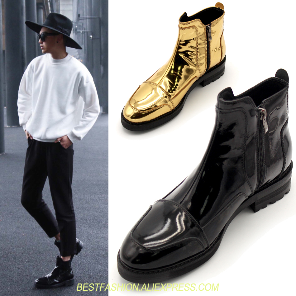 New style gold/black pointed toe ankle booties real patent leather size zipper short boots outdoor shoes men free shippingNew style gold/black pointed toe ankle booties real patent leather size zipper short boots outdoor shoes men free shipping