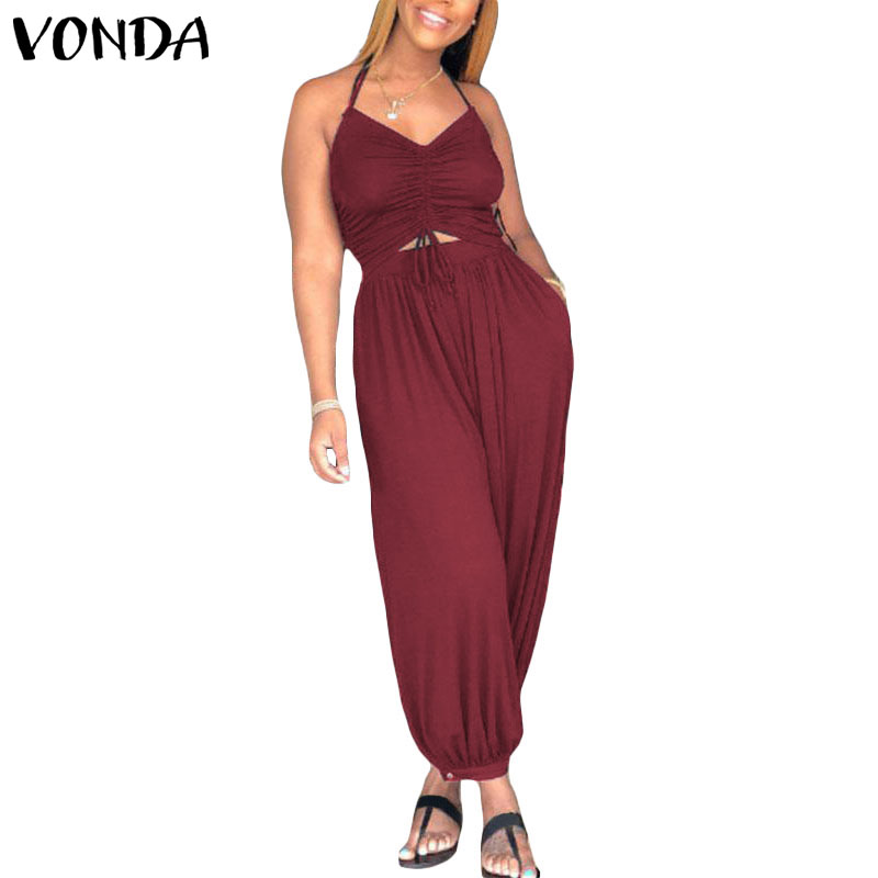 VONDA Rompers Womens   Jumpsuit   Sexy Sleeveless Backless Halter Harem Pants Casual Baggy Lace-up Overalls Plus Size Playsuit