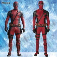 Movie Deadpool 2 Once Upon A Deadpool Costume Wade Winston Wilson Cosplay Carnival Halloween Leather Party Full Set With Boots