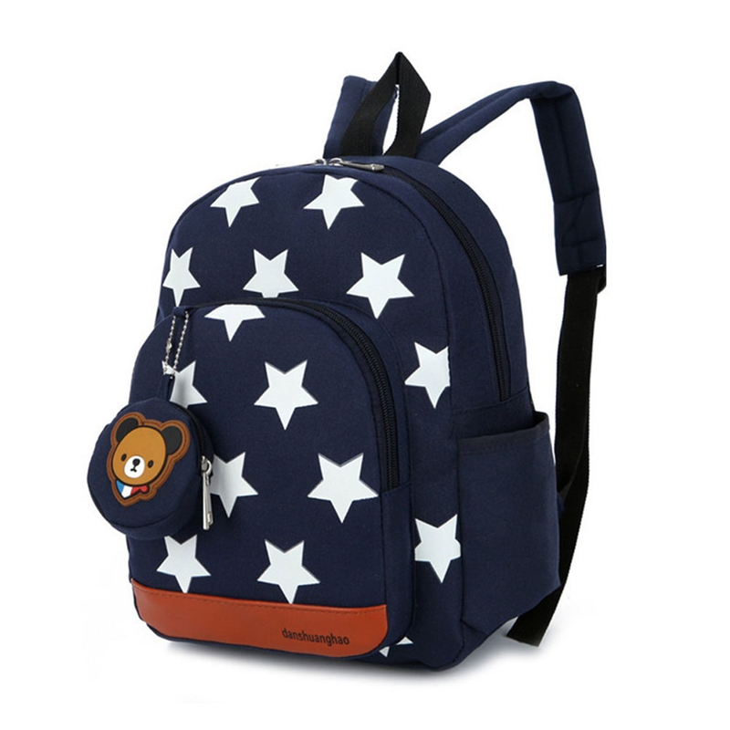 Stars Printing Nylon Children Backpacks Kids Kindergarten School Bags Backpacks Baby Boys Girls Nursery Toddler Cute Rucksack(China)
