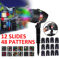 12 Slides Halloween Christmas Laser Patterns Holiday Video Projector Lamp Outdoor LED Waterproof Lamp Indoor Party Light