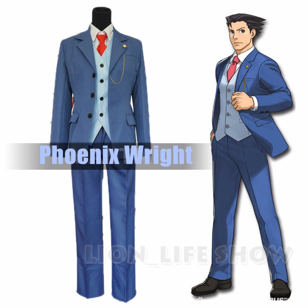 Ace Attorney Phoenix Wright Ryuichi Naruhodo Blu Vestito Cosplay Costume Set Completo