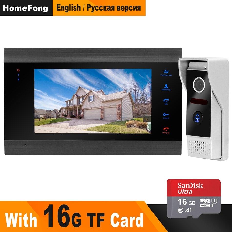 HomeFong vidéo sonnette moniteur interphone 7 pouces panneau d'affichage + IR vision nocturne caméra + 16G carte porte téléphone interphone pris en charge CCTV