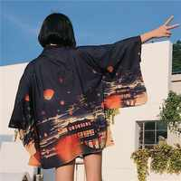 Kimono Vintage Female Shirts Summer Casual Plaid blouse cosplay obi Japanese streetwear Japan kimono traditional yukata Q014