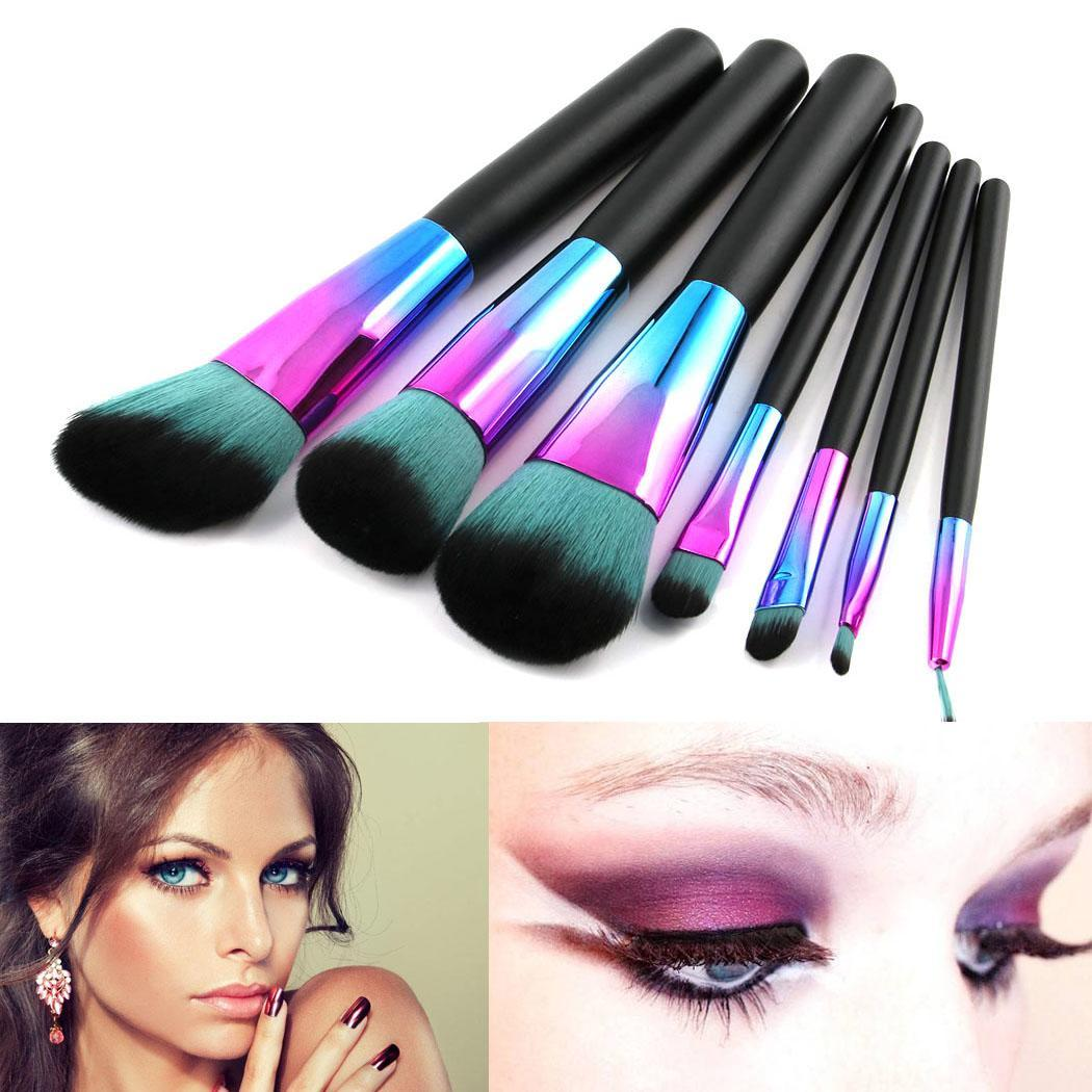 Black handle 7 Gradient color makeup Brush Eyeshadow fiber Artificial Casual Cosmetic Wood Set Lip Makeup x Brush Foundation in Eye Shadow Applicator from Beauty Health