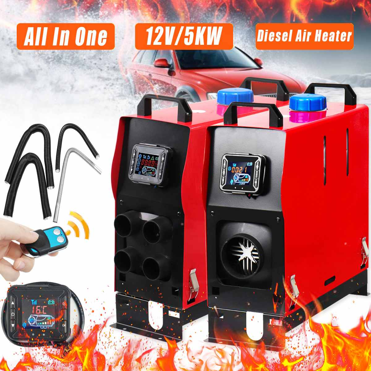 Tout En 1 LCD 1/4 Trous Diesel réchauffeur d'air 12 V 5KW PLANAIRE pour la voiture Camions Remorque Avec télécommande Moniteur À Faible Bruit automatique