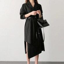 2019 New Solid Color High Waist Irregular Shirt Dress Women Lapel Long Sleeve Belt Mid Dresses Female Casual