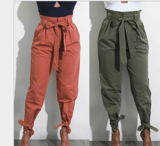 Solid Color Bandage High Waist Loose Wild Casual Pants With Waist Belt  Ankle -length Trouser Women Clothing Pencil Pants