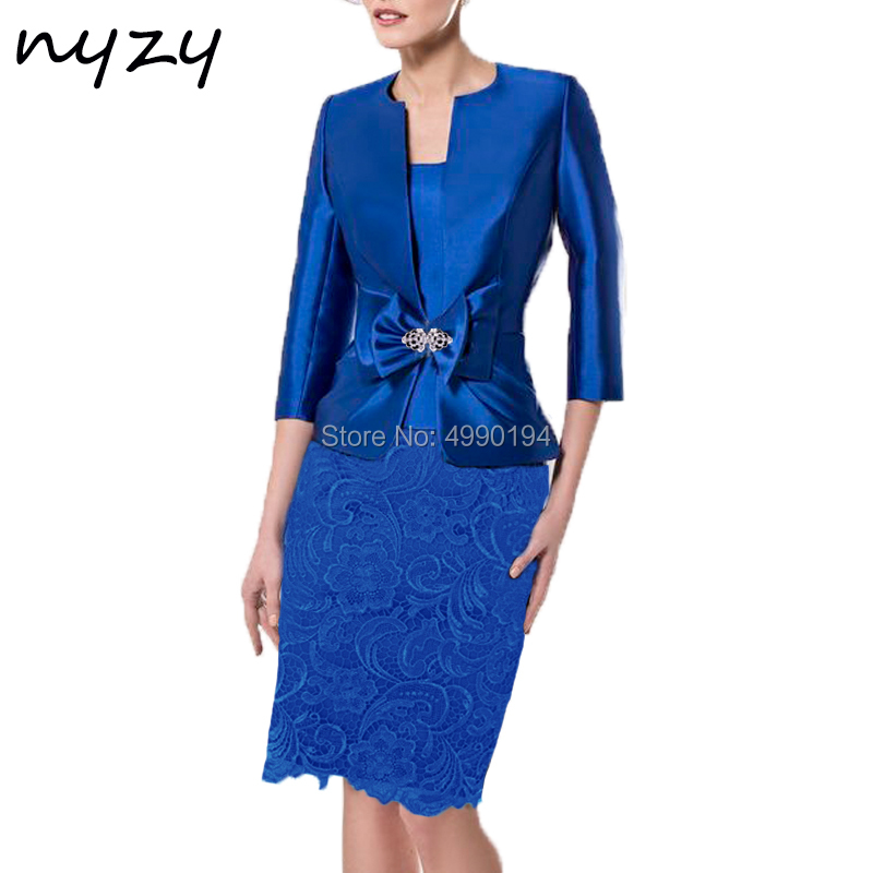 NYZY M118 Mother Dress vestido madrinha Lace Satin Royal Blue Two Piece Jacket Bolero Outfits Wedding Party Dress Church Suits