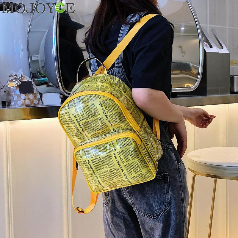 Unisex Newspaper Print Canvas PVC Backpack Travel Casual Student Schoolbags For Teen Girls Boys Fashion Shoulder BagsUnisex Newspaper Print Canvas PVC Backpack Travel Casual Student Schoolbags For Teen Girls Boys Fashion Shoulder Bags